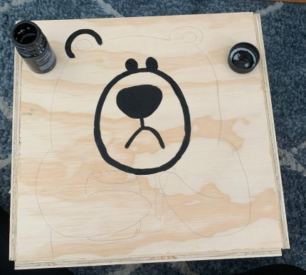 bear wood toy box