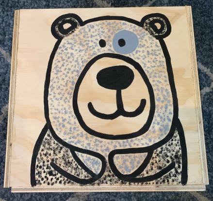 caja madera osos juguetes