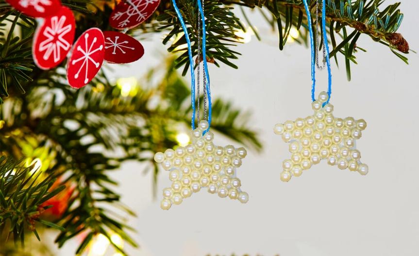 Christmas tree pearl ornaments/ Adorno de perlas arbol denavidad