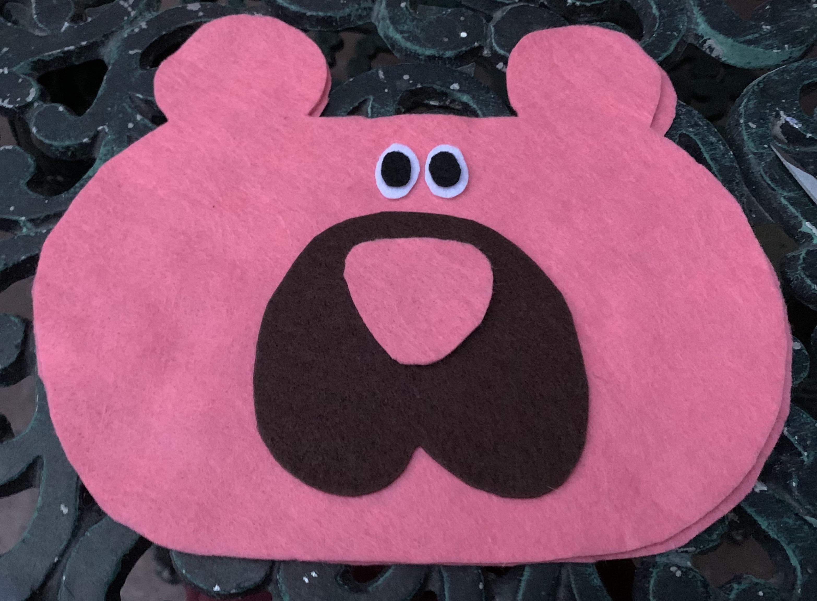 pink bear felt bag