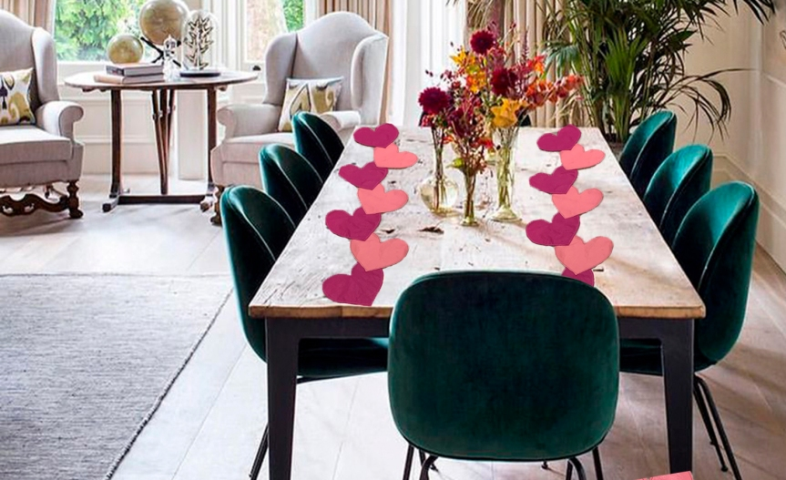 DIY Hearts Table Runner / Camino de Mesa de Corazones DIY